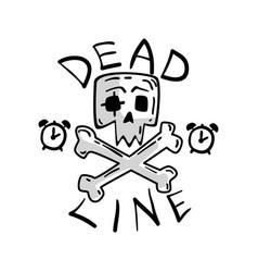 Deadline skull and crossbones time management vector