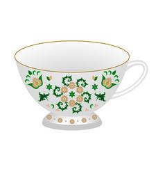 Decorative porcelain tea cup ornate in vector