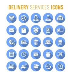Delivery and logistics services flat round web vector