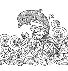 dolphin coloring book vector image