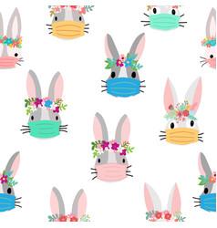 easter rabbit coronavirus seamless pattern vector image