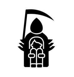 Fear of death black glyph icon vector