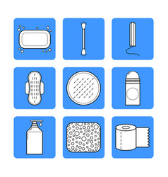 feminine hygiene set of flat objects or vector image