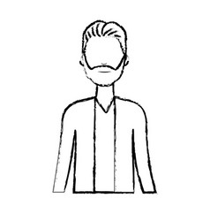 figure cute man with hairstyle and beard vector image