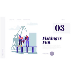Fisherman demonstrating fish haul to customer vector