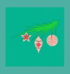 Flat shading style icon christmas tree toys vector