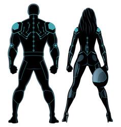 Futuristic superhero couple on white vector