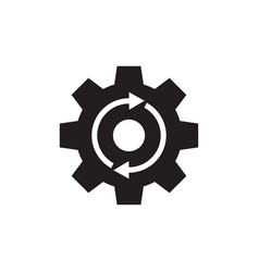 gear cogwheel with arrows - black icon vector image