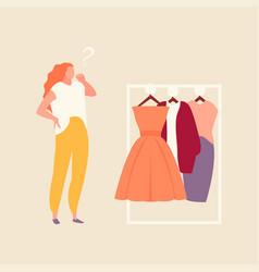 Girl chooses clothes vector