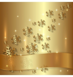 Golden Plate with Snowflakes and Golden Ribbon vector image