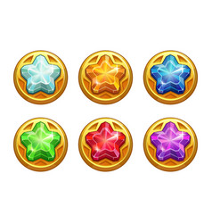 Golden round assets with colorful crystal stars vector
