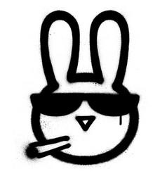 graffiti smoking rabbit with sunglasses sprayed vector image