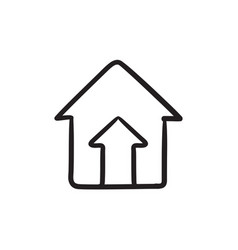 Growth of real estate market sketch icon vector