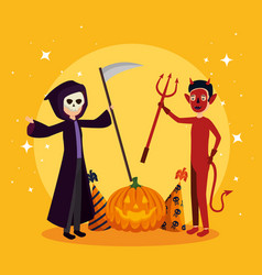 halloween card with death disguise and devil vector image