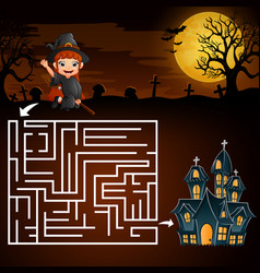 Halloween maze games find the girl witch to the gh vector