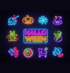 halloween neon icons set happy halloween vector image