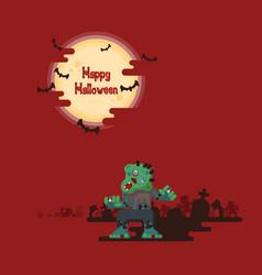 halloween zombies walking under moon vector image