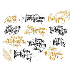 Hand lettering greeting happy thanksgiving vector