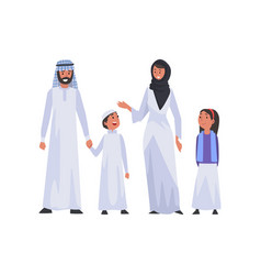 Happy arab family in national clothes muslim vector