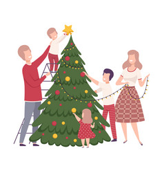 Happy family preparing for new year holiday vector