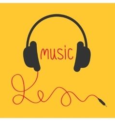 Headphones with red cord and word Music Music vector image