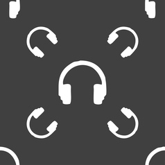 headsets icon sign Seamless pattern on a gray vector image
