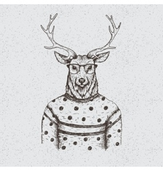 Hipster deer dressed in the blouse vector