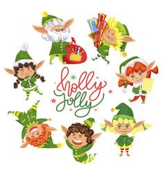 Holly jolly christmas elves circle greeting card vector