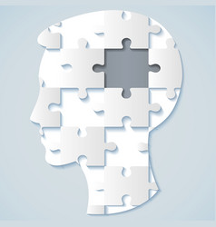 human face in the form of a puzzle with a gray mid vector image