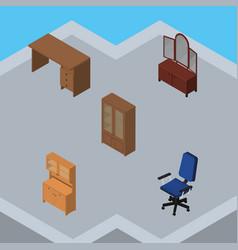 Isometric furnishing set of cupboard cabinet vector