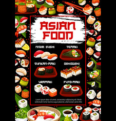 Japanese sushi and rolls types menu japan food vector