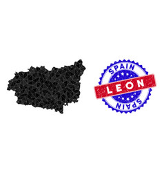 Leon province map polygonal mesh and distress vector