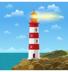 Lighthouse on ocean or sea beach cartoon vector