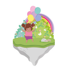 little chubby girl in the landscape vector image