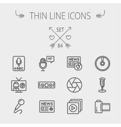 Multimedia thin line icon set vector image
