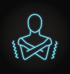 neon chills symptom icon in line style vector image