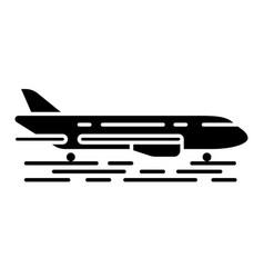 Plane on ground glyph icon vector