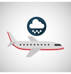 Plane travel weather forecast rain icon vector