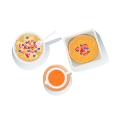 Porridge Pancakes And Orange Juice Set Of Classic vector