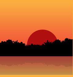 Red sunrise in jungle with reflection in water vector