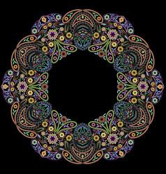 Round paisley ethnic ornament vector