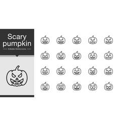 Scary pumpkin icons modern line design vector
