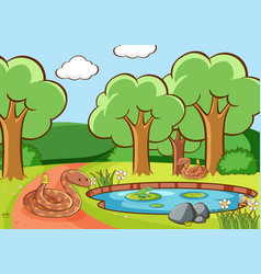 scene with snakes and frog pond vector image