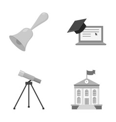 School bell computer telescope and school vector