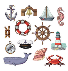 sea marine or nautical symbols lighthouse vector image