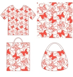 Seamless pattern butterflies and hearts vector