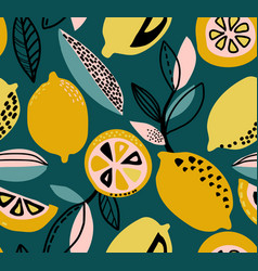 seamless pattern with yellow lemons vector image