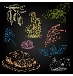 Set of color chalk drawn on a blackboard food vector
