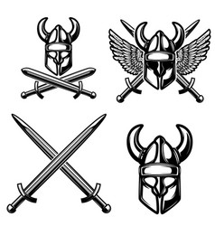 set of emblem template with viking helmet crossed vector image