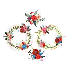 set of four flower wreaths vector image